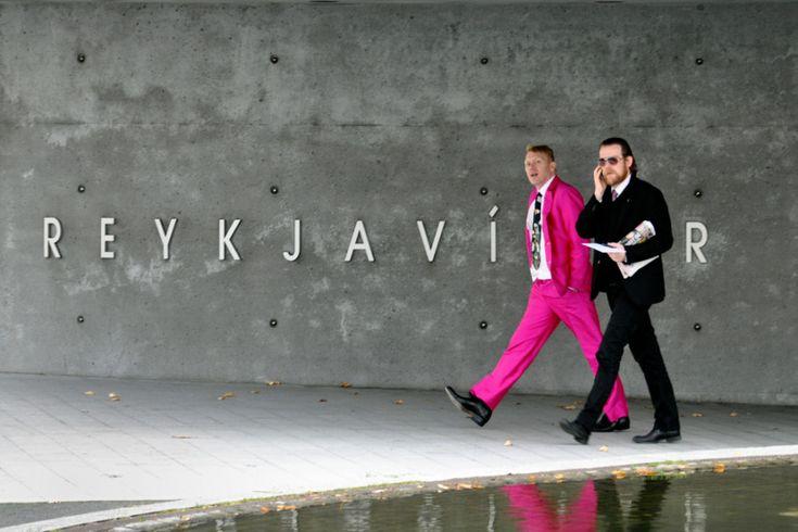 Gnarr pink suit walking