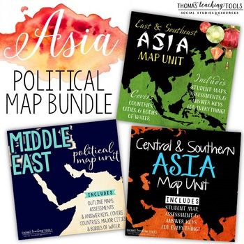 Asia: Political Map Unit BundleThis geography unit bundle is a great supplement for any study of Asia.  It covers the entire continent of Asia in three different regions.  Each regional unit include countries and major cities and is intended for use in middle or high school.