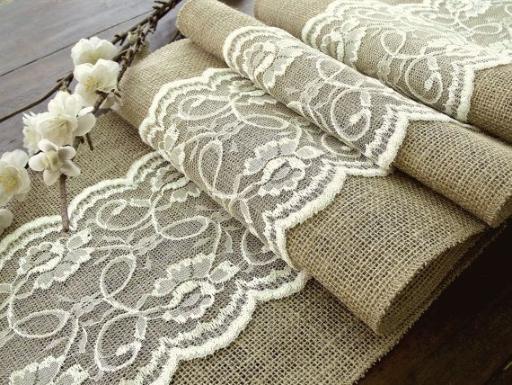 Wedding table runner with ivory lace, rustic chic , romantic or vintage wedding , handmade in the USA
