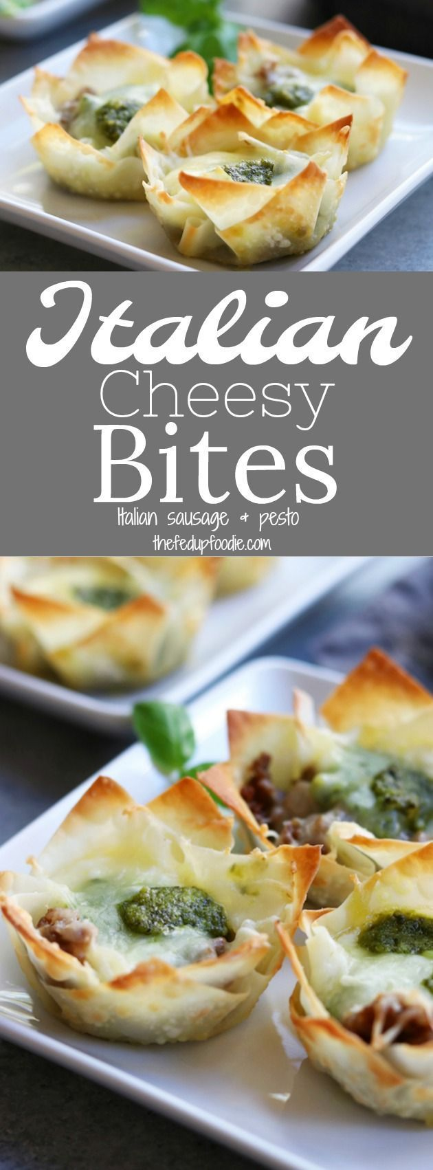 Crispy, cheesy and bursting with flavors of Italian sausage and pesto, these Italian Cheesy Bites recipe is a wonderful appetizer for your Holiday get togethers. https://www.thefedupfoodie.com