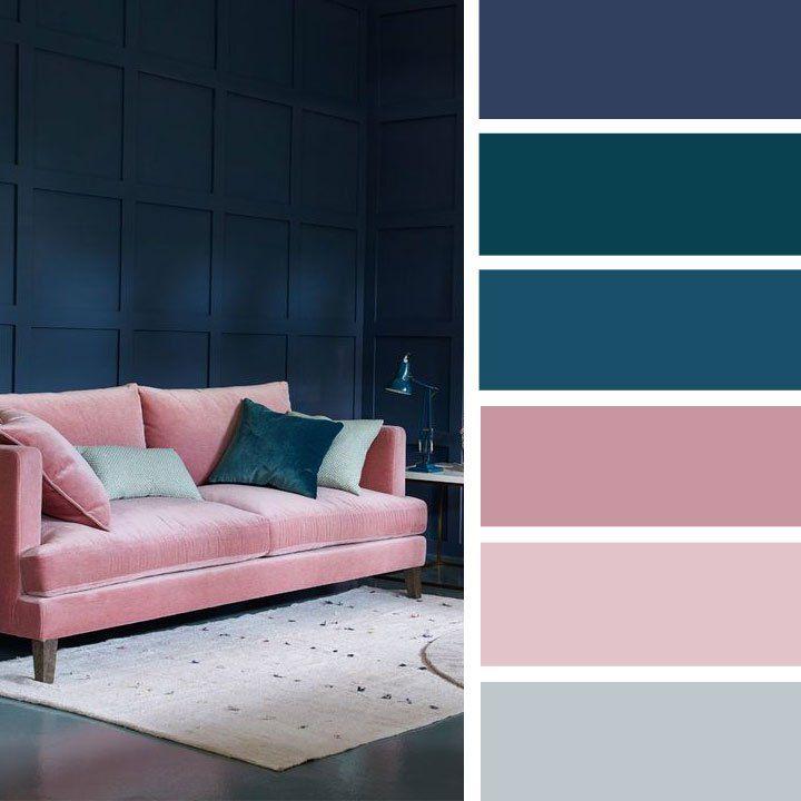 Blush navy blue teal color palette for sitting room | color inspiration