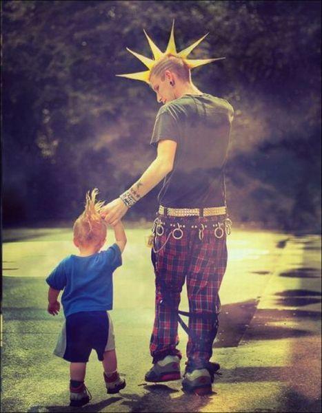 "Punk...like father like son.""punks not dead"""