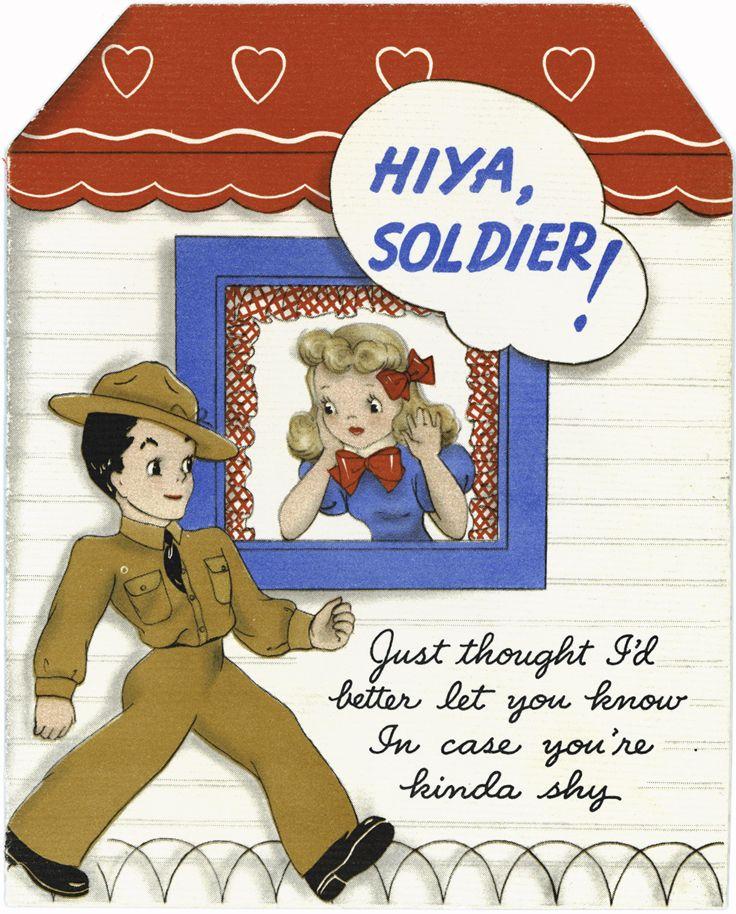 Vintage kaart uit de collectie van Hallmark Cards die door het thuisfront aan Amerikaanse soldaten werd gestuurd tijdens de tweede wereld oorlog.