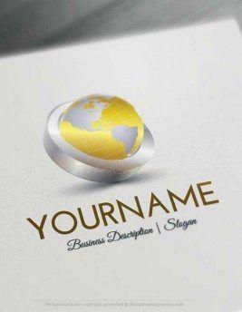 Design Free Globe Logo Online  3D Globe Online Logo Templates - free logo maker