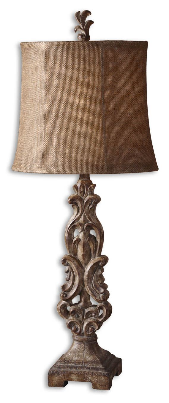 Off gia buffet lamp by uttermost antiqued light brown finish with heavy distressing an aged ivory glaze and wood grain details on the foot
