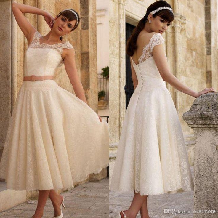 Lovely Wholesale A Line Wedding Dresses Buy Vinatge Short Wedding Dresses Jewel A