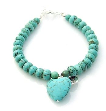 Our Signature Bracelet Turquoise Natural Stone Beads and Solid Turquoise Heart. Top Selling Pin available from www.eastern-elements.com.au