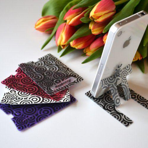 Faltbarer Reisehalter im Kreditkarten Format - Smartphone Video Ständer zur freihändigen Benutzung für iPhone, Samsung Galaxy, HTC, Nokia Lumia und andere Handys - Kreise, http://www.amazon.de/dp/B004L4AFRO/ref=cm_sw_r_pi_awd_meuosb1MP5206