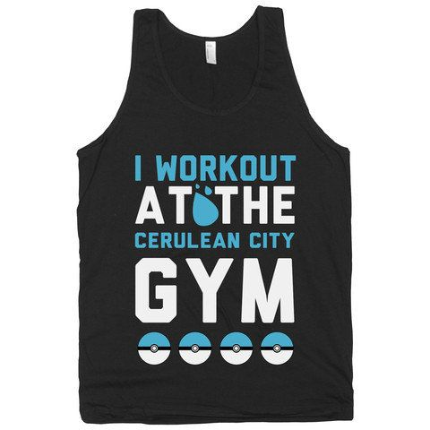 Workout at the Cerulean City Gym, Pokemon, Fitness, Exercise, Nerdy, Shirts, Men's, Womens, Clothing, Tops, Tanks, American Apparel. on Etsy, $19.00