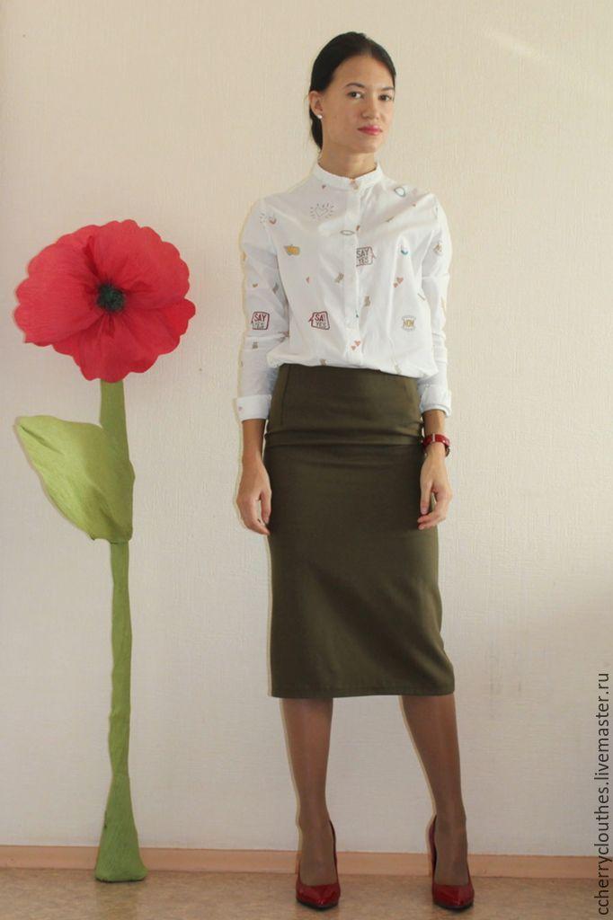 Купить юбка - карандаш - хаки, юбка миди, юбка-карандаш, стильная одежда, модная одежда