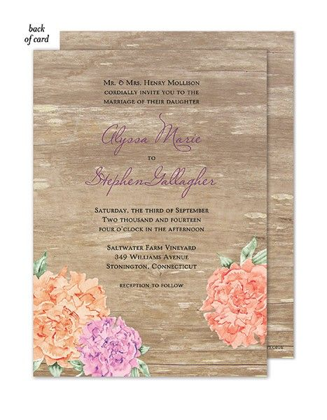 Wood Floral Wedding Suite Invitation by Bonnie Marcus