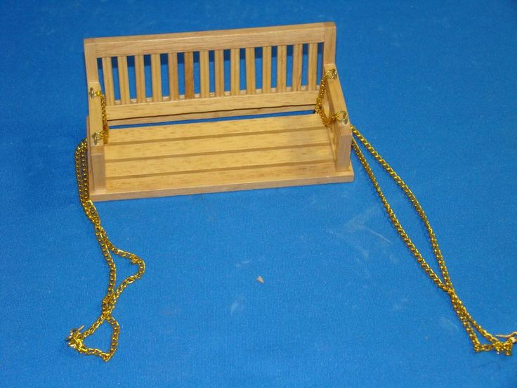 Dollhouse Furniture Town Square Miniatures 4 1/2 Inch Porch Swing In Oak