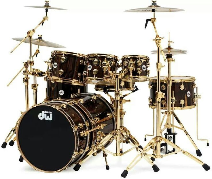 Drum Set DW. Nice Black and Gold finish!