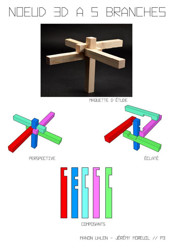 Noeud 3D à 5 branches / Assemblage à mi-bois  - Jérémy Moreuil/Manon Uhlen