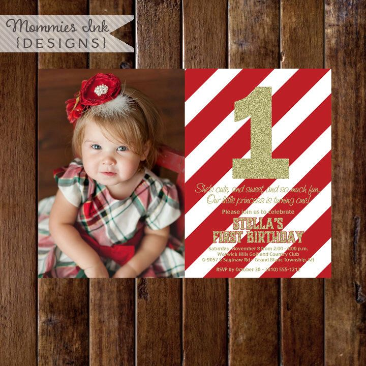 invitation words forst birthday party%0A Red and Gold Glitter First Birthday Photo Invitation  Red Stripes  Gold First  Birthday Invite