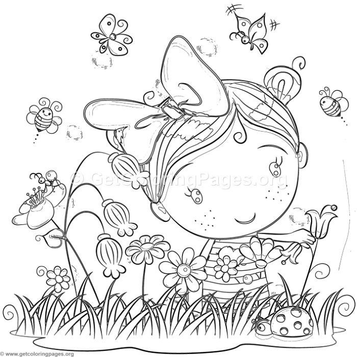 Free Download Cute Little Girl In The Garden Coloring Pages Coloring Coloringbook Coloringpages Gi Coloring Pages Free Coloring Pages Garden Coloring Pages