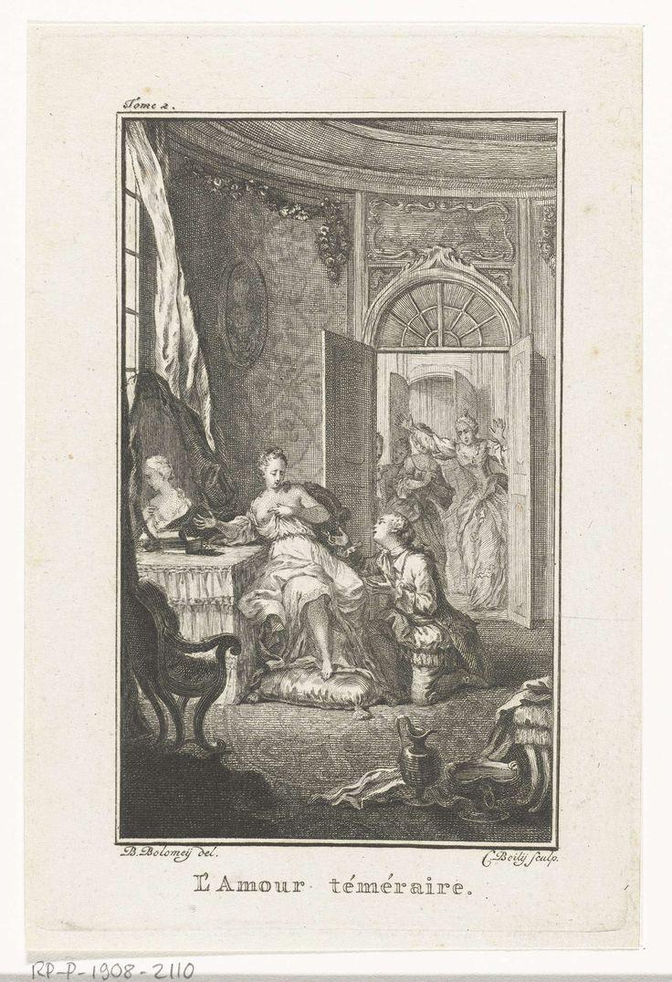 Charles Ange Boily | L'amour téméraire, Charles Ange Boily, c. 1753 - 1813 | Een heer knielt op de grond voor een dame en maakt haar een aanzoek. De dame zit halfnaakt aan haar toilettafel. In paniek komen andere vrouwen de kamer binnen. Titelillustratie voor deel 2 van een boek over de perikelen van de liefde.