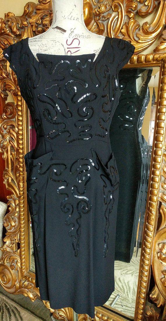 c9fd2c55b77 Gorgeous Vintage 1940 s Black Sequin Soutache Dress