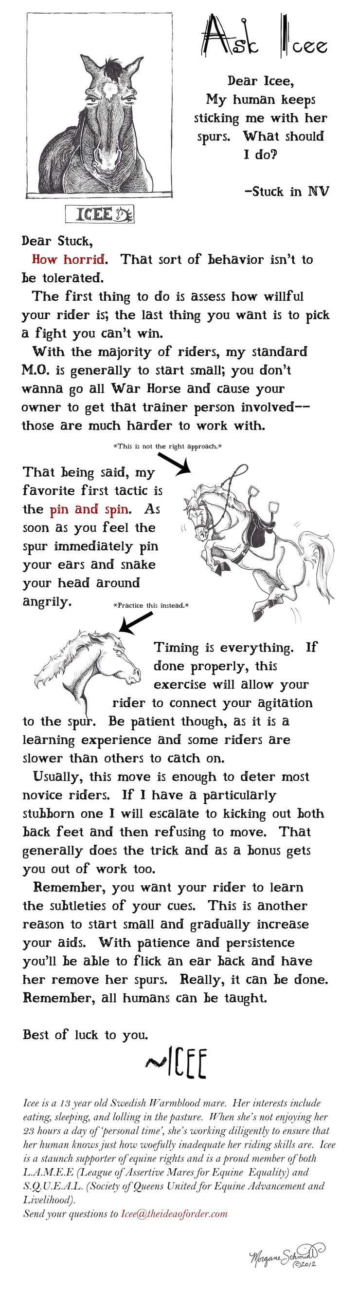 "Horse Nation's illustrious illustrator Morgane Schmidt is back this week with a horses-only advice column, ""Ask Icee."""