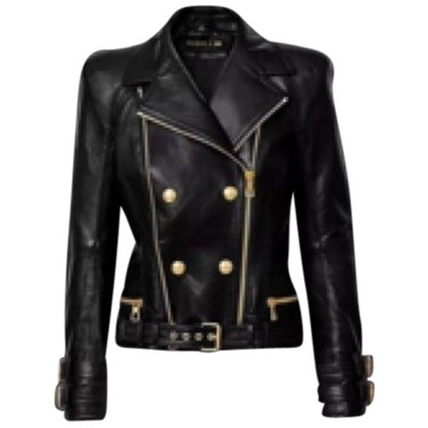 Pre-owned Balmain X H&m Nwt Leather Leather Jacket ($1,231) ❤ liked on Polyvore featuring outerwear, jackets, none, balmain, 100 leather jacket, genuine leather jacket, leather jacket and real leather jacket