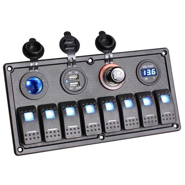 12V 24V 5-Gang Circuit LED Rocker Switch Panel Waterproof For Car Marine Boat UK