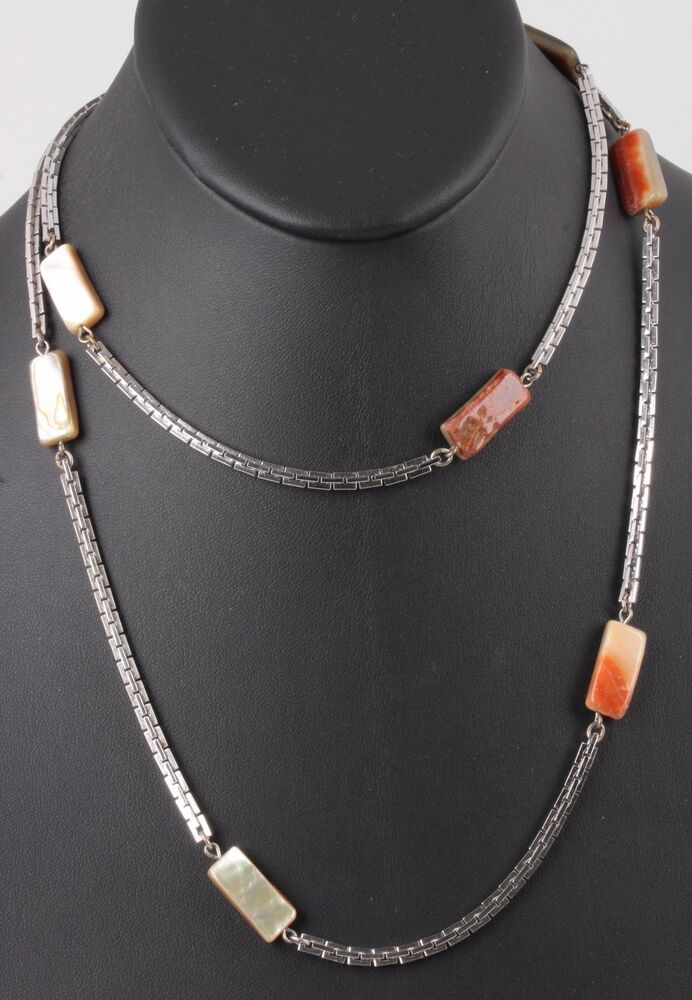 Mother Of Pearl Fashion Necklace And Earring Set Brown//Silver