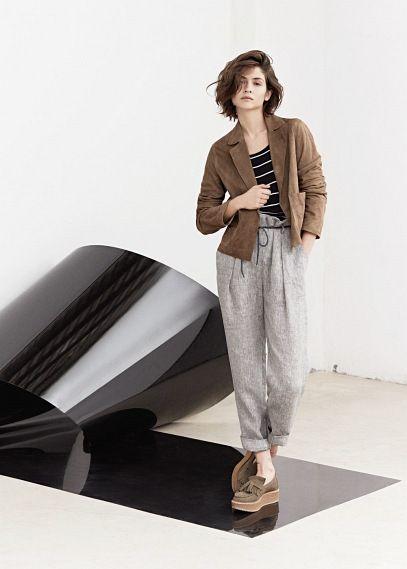 Premium -  pantalón lino tiro alto   MANGO
