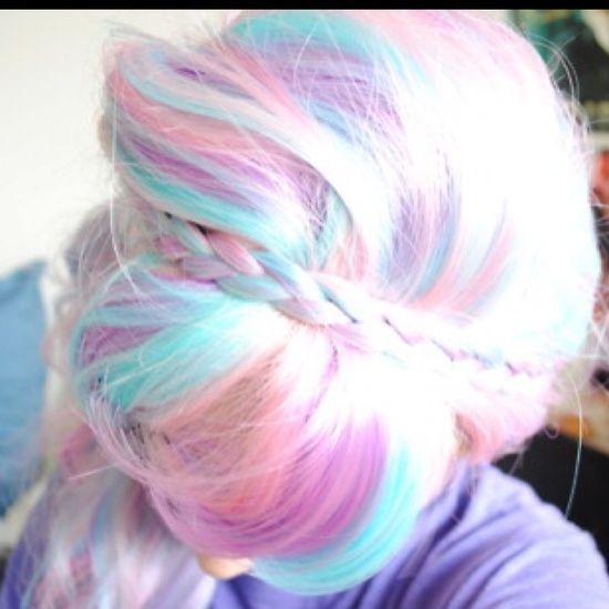 Pastel rainbow hair - pink, peach, blue - and braids!