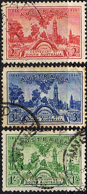Australia 1936 South Australia Centenery Fine Used Set SG 161 3 Scott 159 61 Other British Commonwealth Empire and Colonial stamps for sale Here