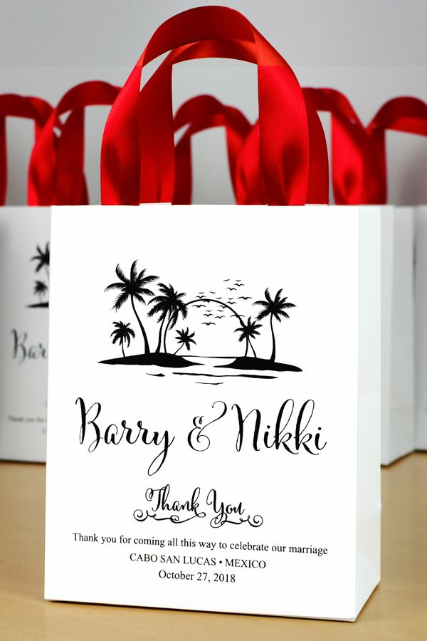 Palm Tree Welcome to {city} Custom Wedding GiftBag Tags foil bag tags with satin ribbon personalized favor tags