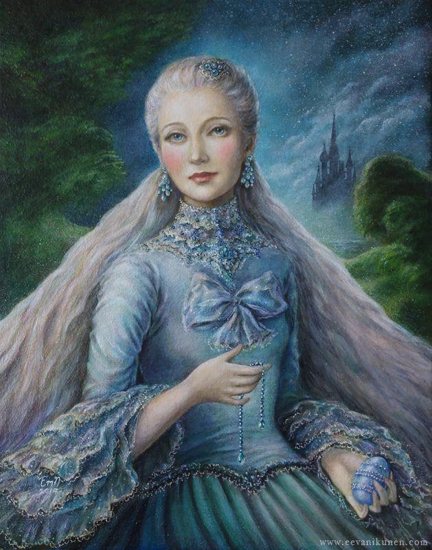 'Lady Siniy'. Oil on Belgian linen by Eeva Nikunen.