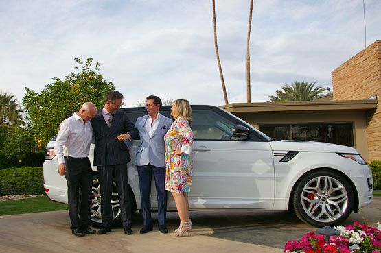 Gerry McGovern, et al., and the Land Rover at Frank Sinatra's Twin Palms residence in Palm Springs, CA (John Grafman)