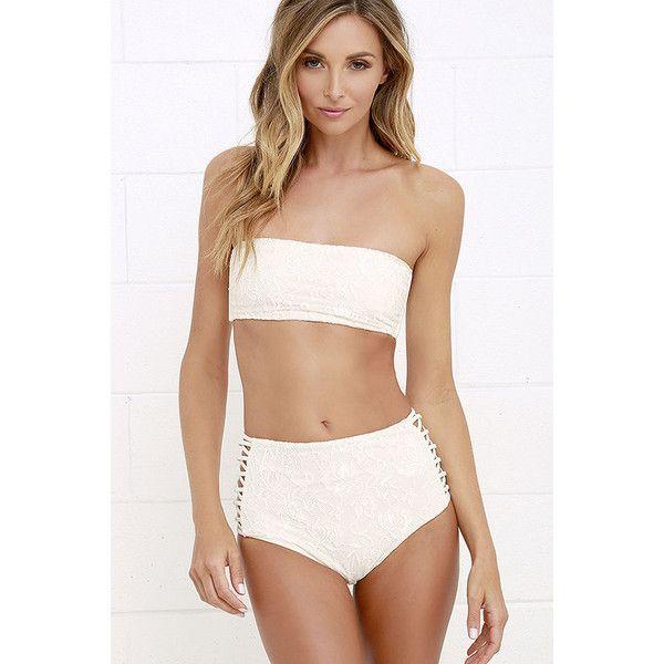 Amuse Society Sola Cream Lace High Rise Bikini Bottom ($84) ❤ liked on Polyvore featuring swimwear, bikinis, bikini bottoms, white, cut out bikini, high-waisted swimwear, lace bikini, white lace two piece and white bikini bottoms