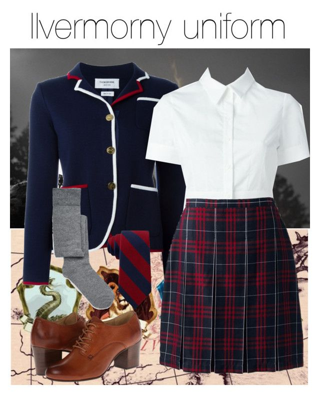 Ilvermorny uniform by ravenclawchick852 on Polyvore featuring polyvore, fashion, style, Alexander McQueen, Thom Browne, Lands' End, ASOS, Frye, Tommy Hilfiger and clothing