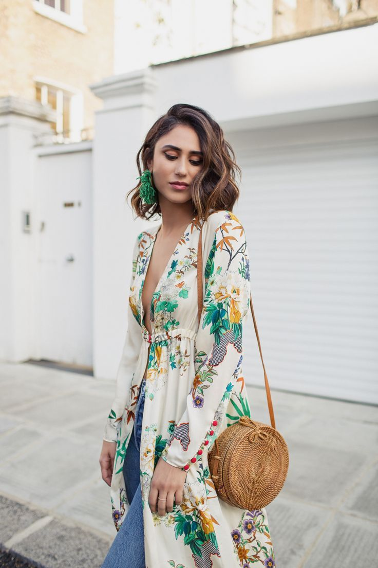 Green Statement Earrings, Wicker Bag And Floral Duster