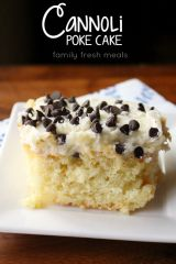 Cannoli Poke Cake - Enjoy! FamilyFreshMeals.com -