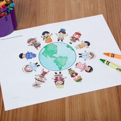 It's a Small World Coloring Page | Disney | Spoonful... Print these for kids to color at the reception?