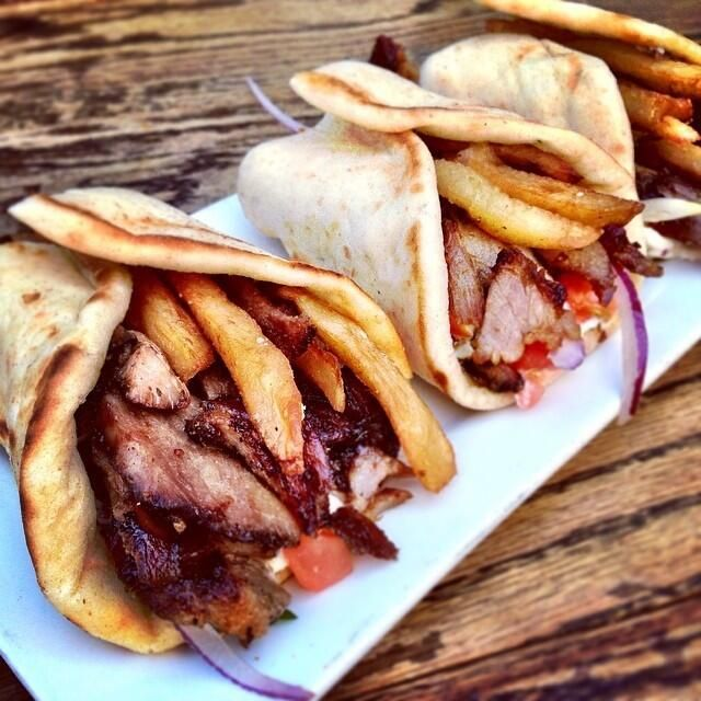 Pork gyros at @cavamezze with fries inside. pic.twitter.com/y3qeGkEBz8