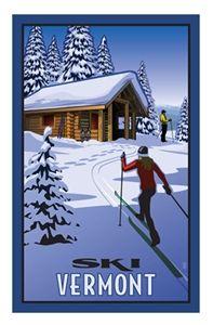 Ski Vermont vintage ski skiing poster  cross country skiing