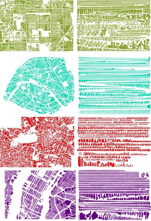 """Paris – Tokyo, villes en morceaux. """"Armelle Caron range et ordonne les plans de villes : d'un côté, un plan fidèle à la réalité avec ses rues, ses quartiers et leurs imbrications, de l'autre, un découpage des îlots regroupés par formes fait apparaitre des motifs décoratifs, véritable anagramme du plan de ville. Incitant le public à s'approprier ces formes, elle transforme le plan de Paris en puzzle géant"""