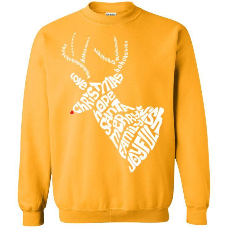 Christmas Reindeer - White Deer Head Antlers Men's Sweatshirt
