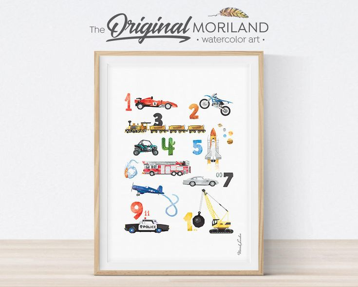 Numbers Print, Number Transportation Poster, Learning Numbers Wall Art, Nursery Decor, Vertical, Vehicle Print, Kids Wall Art, Printable Art by MORILAND on Etsy