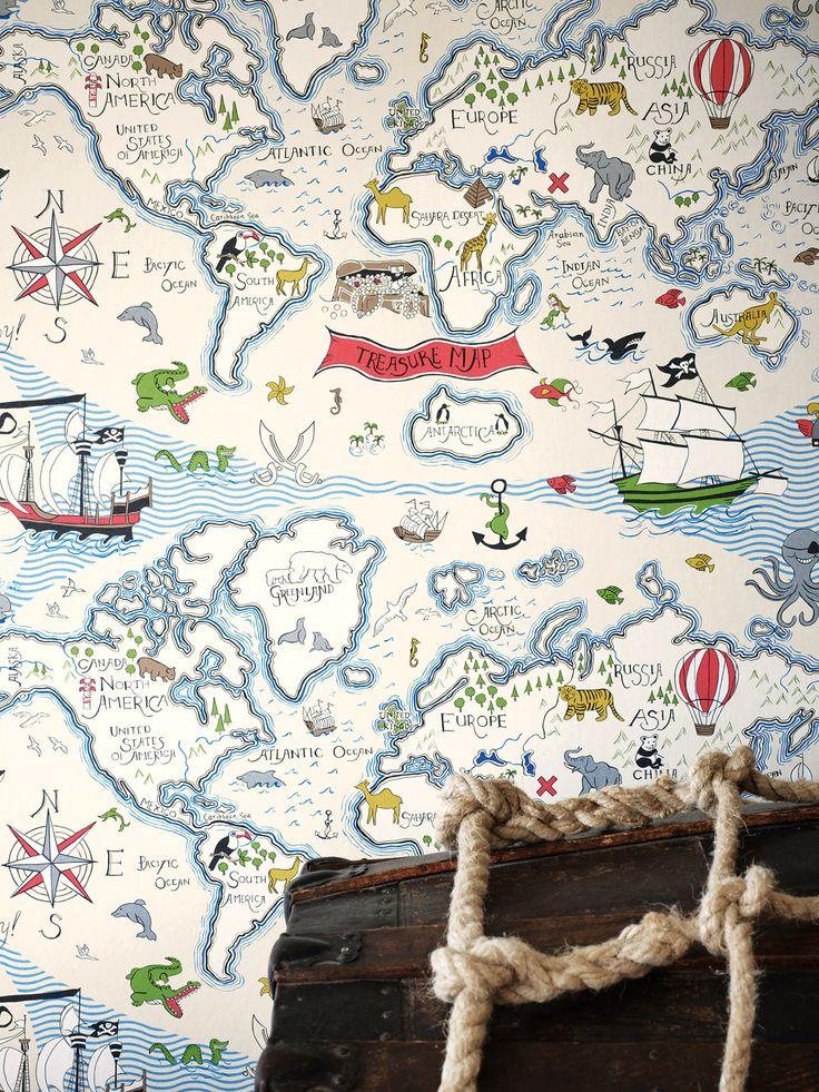 Exciting treasure map wallpaper