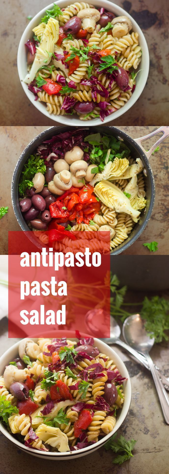 This vegan antipasto pasta salad is made with rotini pasta dressed in a tangy balsamic vinaigrette and tossed with artichoke hearts, marinated mushrooms, roasted red peppers, olives and herbs.