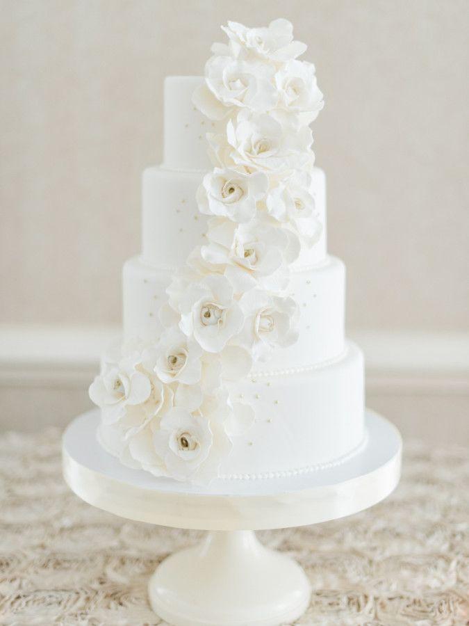 Classic white fondant floral wedding cake 208