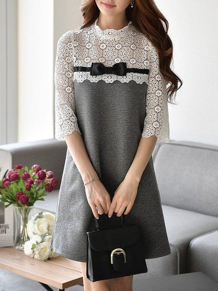 Light Gray 3/4 Sleeve A-line Guipure Paneled Mini Dress