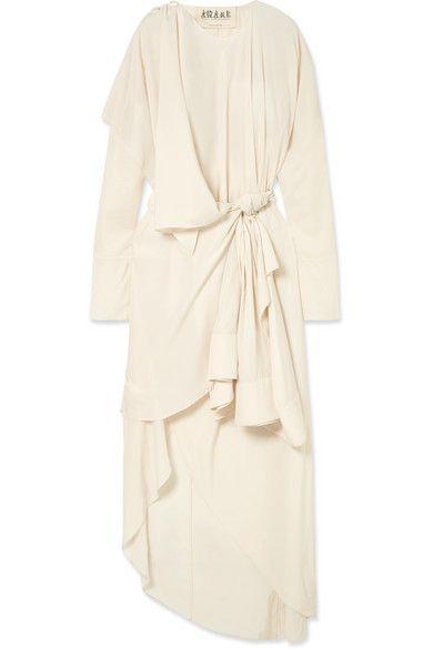 A.W.A.K.E. | Draped matte-satin midi dress | NET-A-PORTER.COM