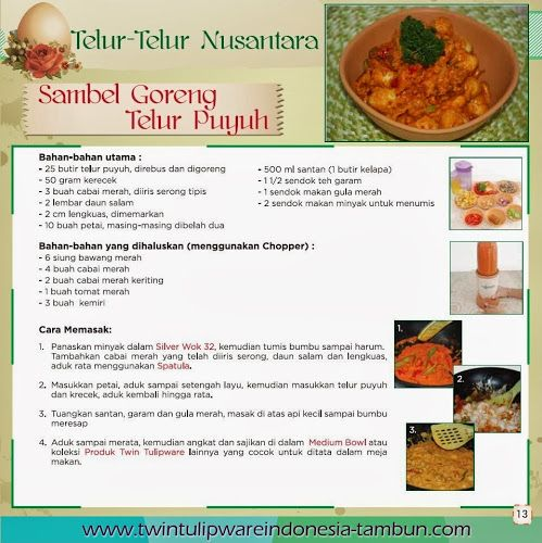 "Chefs ""Corner"" : Sambel Goreng Telur Puyuh | Maret - April 2014"