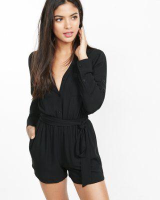 black long sleeve portofino romper