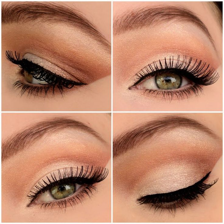 Soft eyeshadow tones are perfect for weddings. Wear a light neutral tone to define the crease, then finish with a thin winged eye liner and false eye lashes for that perfect bridal look.